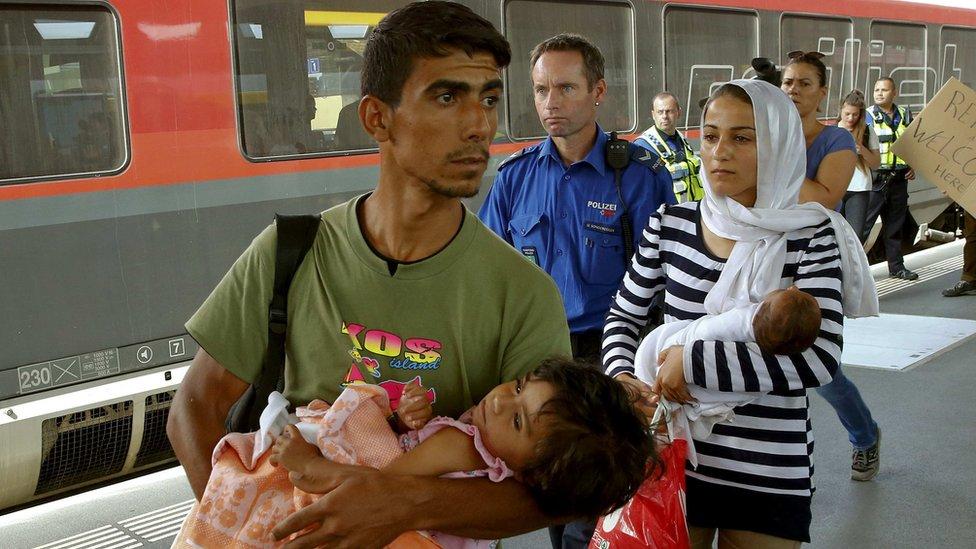 Syrian refugees at Buchs railway station, Switzerland, 1 Sep 15