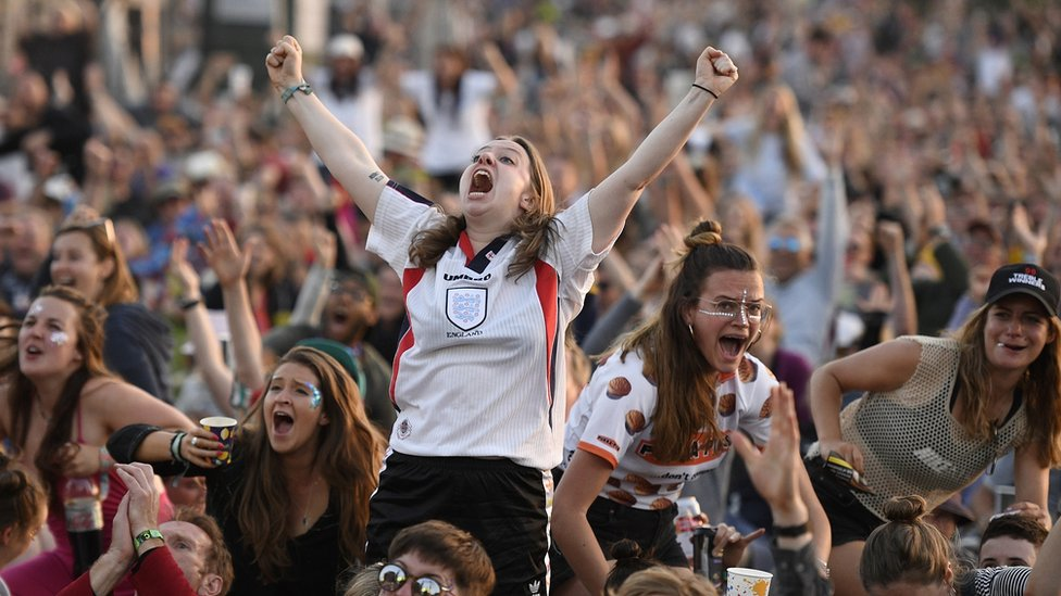 England fans watching England play Norway in the Women's World Cup quarter-finals at the West Holts stage