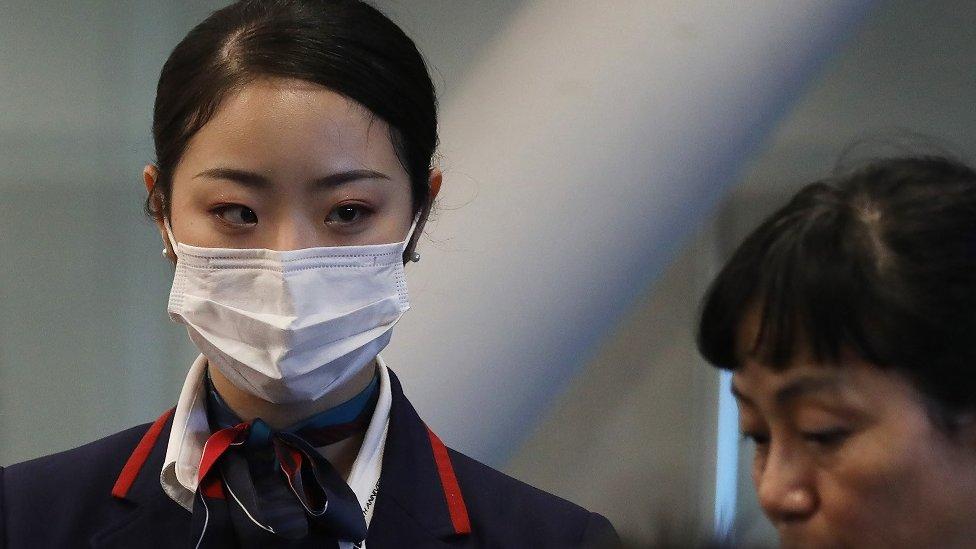 Los Angeles Havalimanı'nda Japonya Hava Yolları için çalışan maske takmış bir hostes