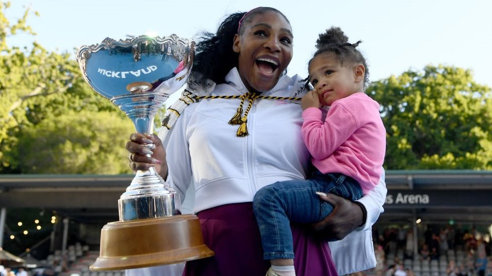 Serena Williams pictured with her daughter Olympia