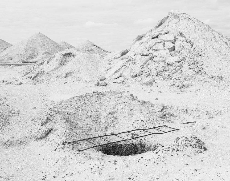 Image of barren, white landscape from Outback Mythologies series