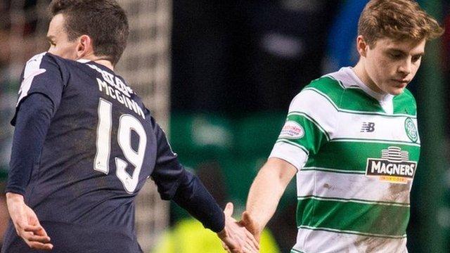 Dundee's Paul McGinn and Celtic's James Forrest