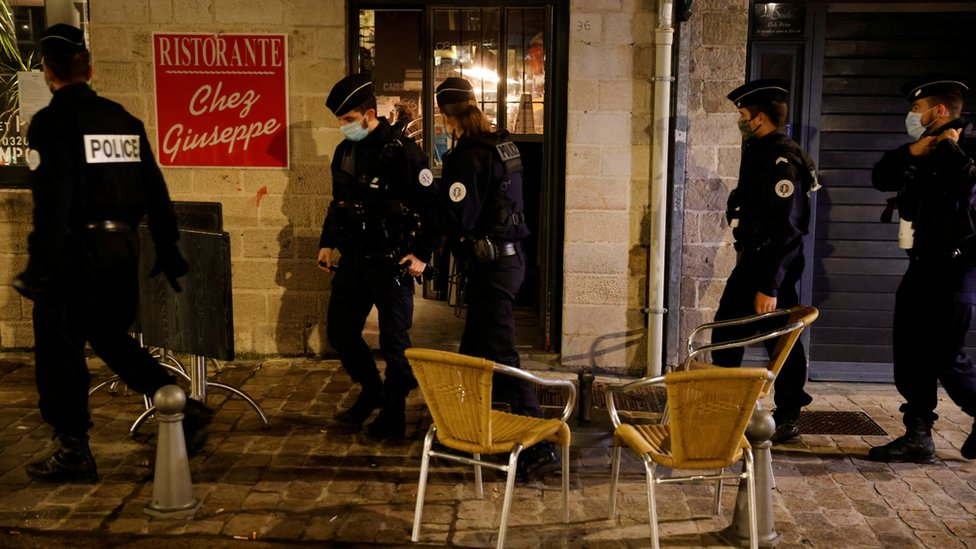 Police patrol the streets of Lille
