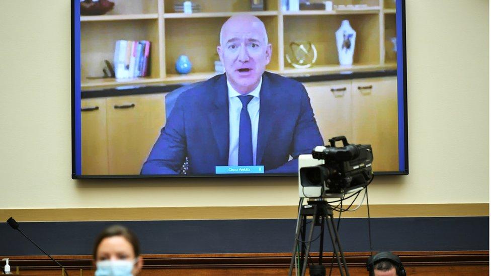 Jeff Bezos testifies by remote video