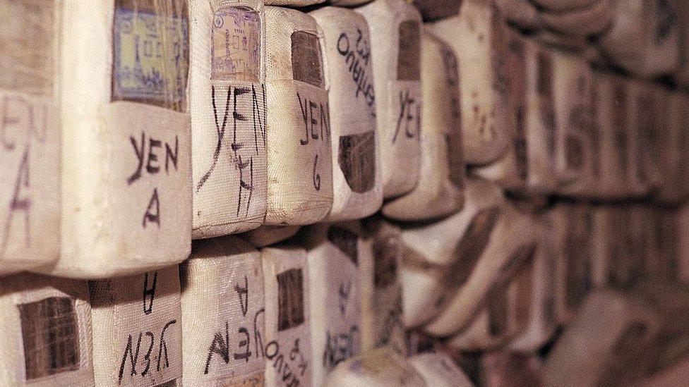 Paquetes de cocaína incautados a Sito Miñanco en 1991.