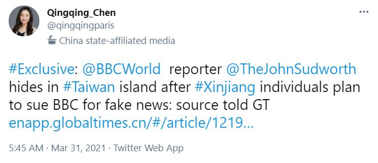 Un tuit de una reportera del Global Times chino