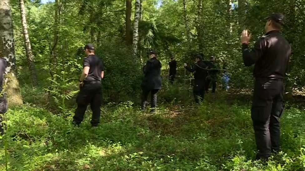 Police and search and rescue teams at Alice Holt Forest on Tuesday