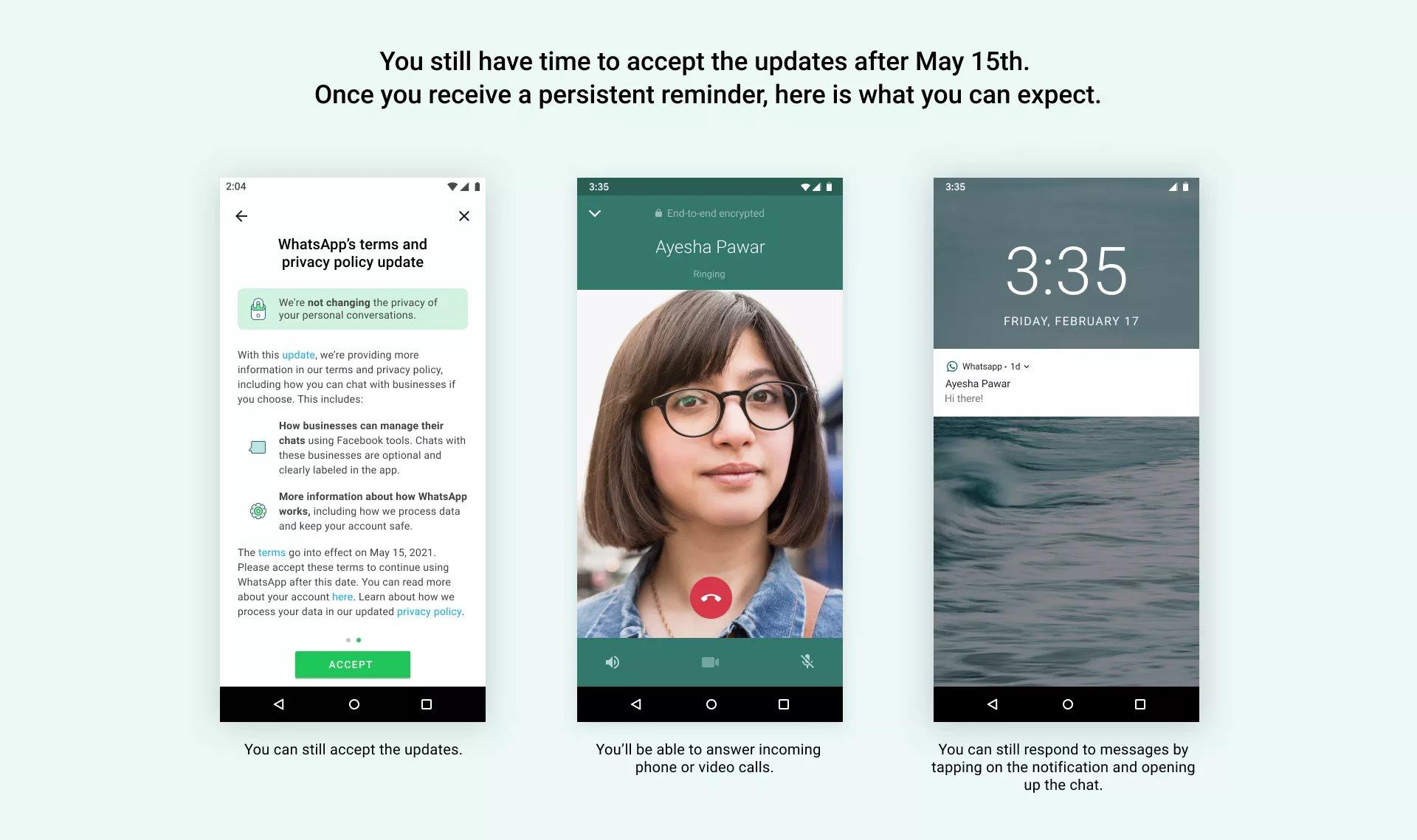 Mensajes de WhatsApp en pantallas de móviles