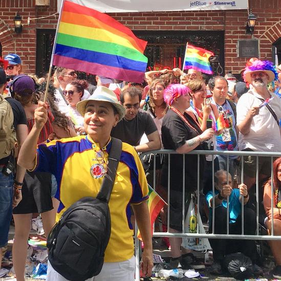 Marta Álvarez en el 50 aniversario de Stonewall, Nueva York, 2019.