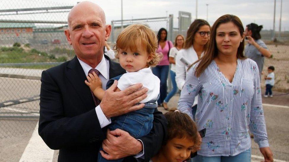 Former Venezuelan intelligence chief Hugo Carvajal leaves prison after being freed in Estremera, Spain September 16, 2019.