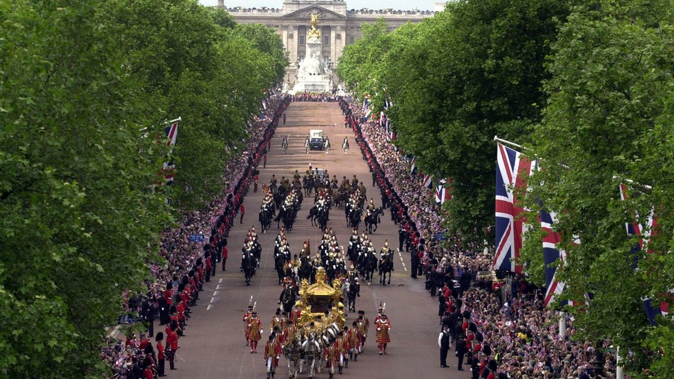 The Queen's golden coach in procession from Buckingham Palace