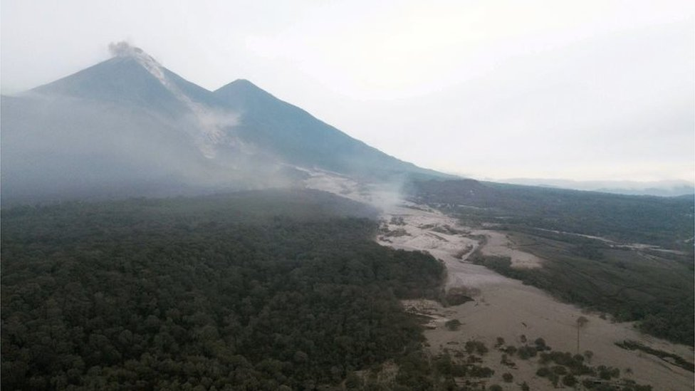 Aerial view of the San Miguel Los Lotes hamlet, after yesterday's eruption of the Fuego volcano, in Escuintla, Guatemala, 04 June 2018.