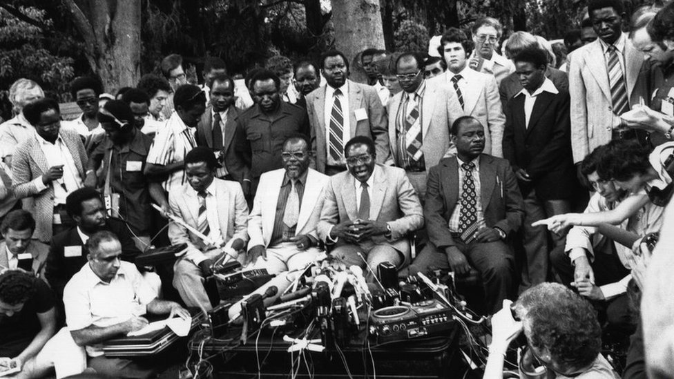 Robert Mugabe holds a press conference as newly elected prime minister of Zimbabwe, March 6th 1980