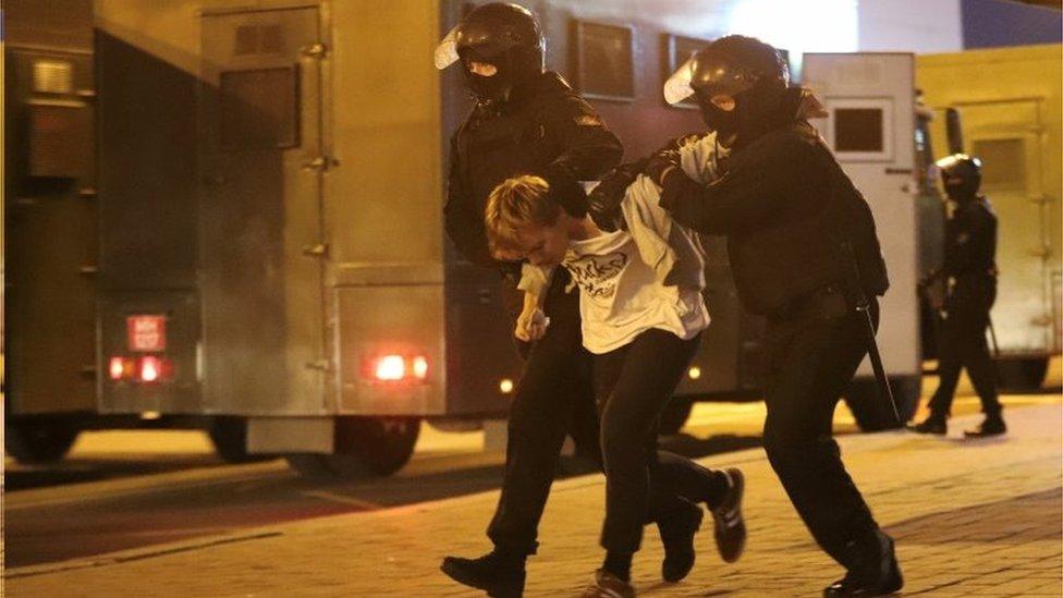 Riot police arrest a protester in Minsk, Belarus. Photo: 23 September 2020