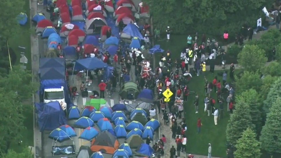 Tents outside McDonalds HQ in Chicago