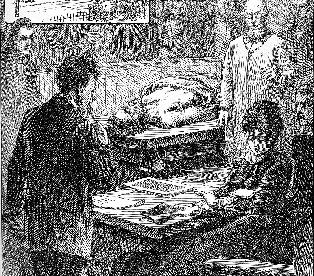 """Ilustración de 1847 que muestra a Blackwell en el Geneva Medical College leyendo una nota """"muy impertinente"""" que un estudiante le dejó caer en el brazo, durante una conferencia en la sala de operaciones."""