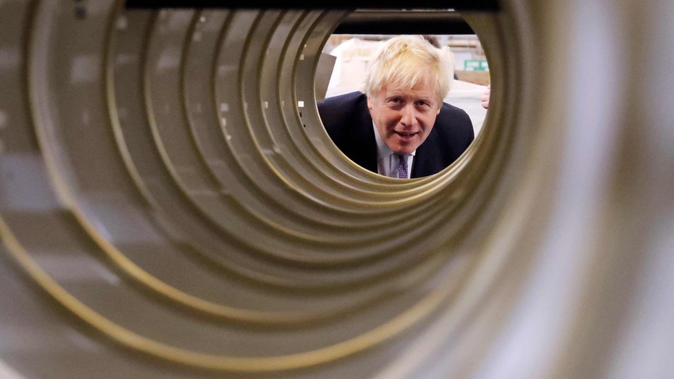 Boris Johnson on a campaign visit to a factory in Newton Aycliffe (20 Nov)