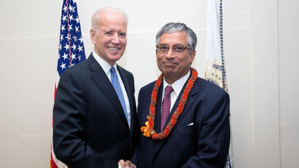 Shekar Narasimhan with presidential candidate Joe Biden