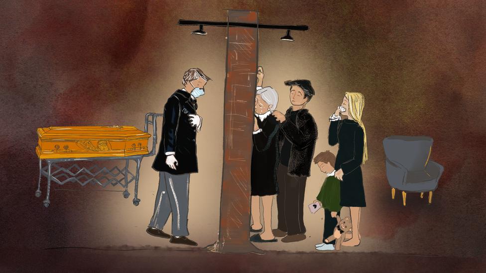 Ilustración: una pared separa a una familia en duelo de una persona fallecida.