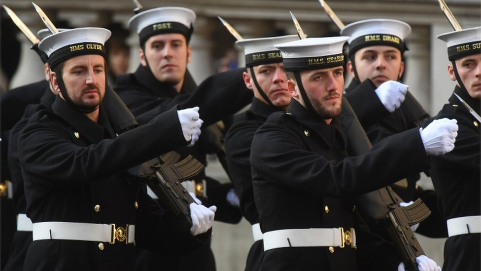 Members of the armed forces during the Remembrance Sunday service at the Cenotaph memorial
