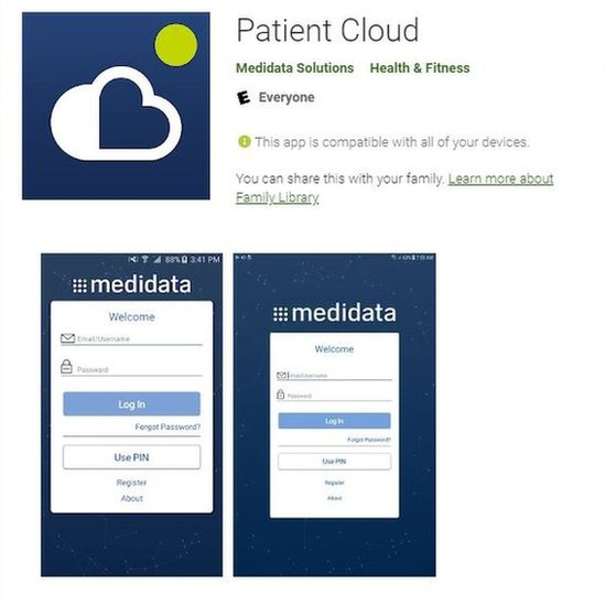 Image shows Patient Cloud app