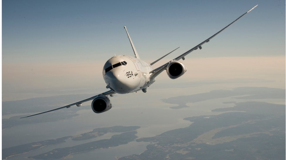 A Boeing handout image showing a P-8 in the air