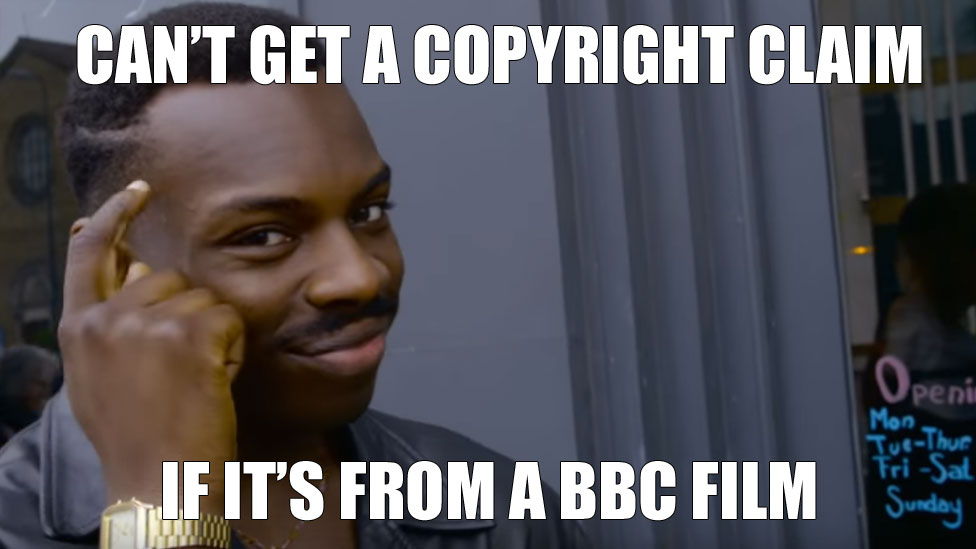 "Fictional character Roll Safe - in a popular BBC mockumentary - taps his head in thought. The photo also has the text: ""Can't get a copyright claim if it's from a BBC film"""