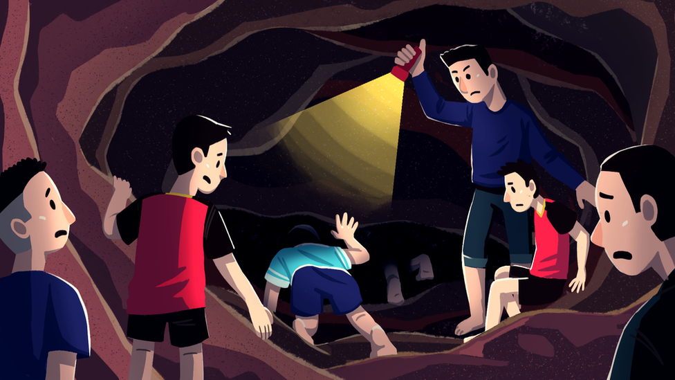 Illustration of the boys in the cave