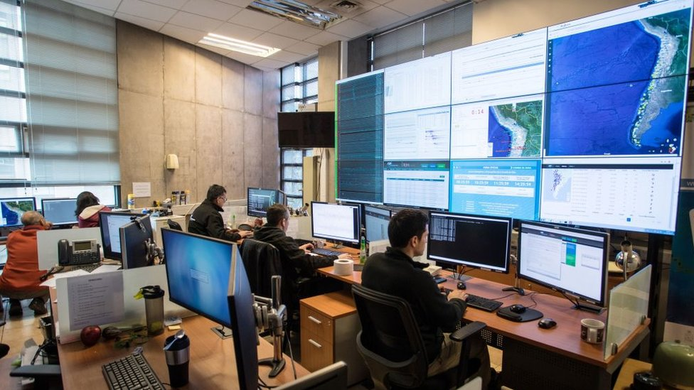 Control Center of the Seismic Center in Chile