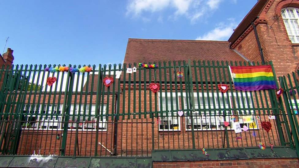 Anderton Park Primary School railings with heart-shaped messages