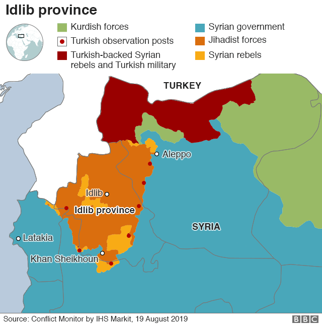 Map of Idlib province in Syria, with the multitude of different rebel groups listed and their relative territories shown geographically