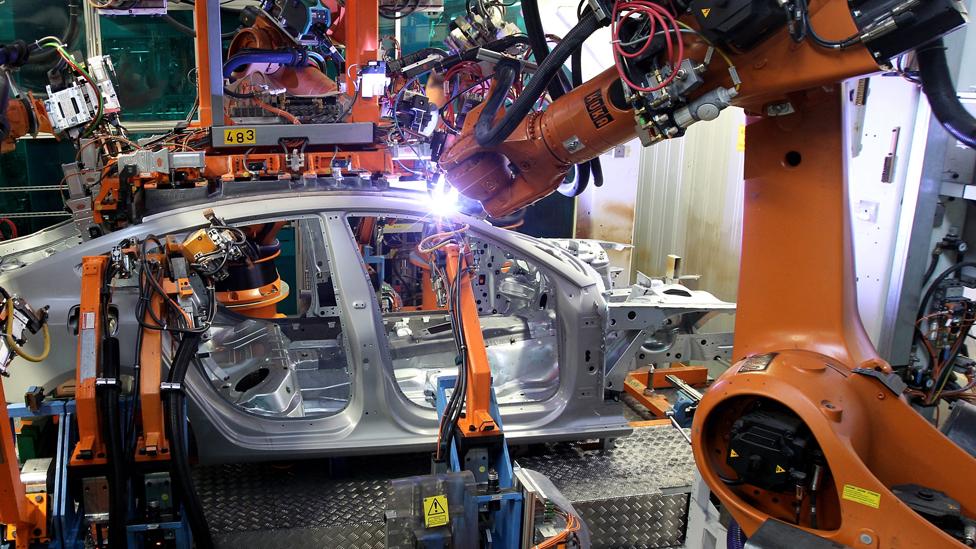 Robots assembling Audi car in Ingolstadt, Germany, 8 Mar 10