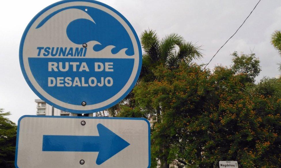 Señal de ruta de evacuación por tsunami en San Juan de Puerto Rico