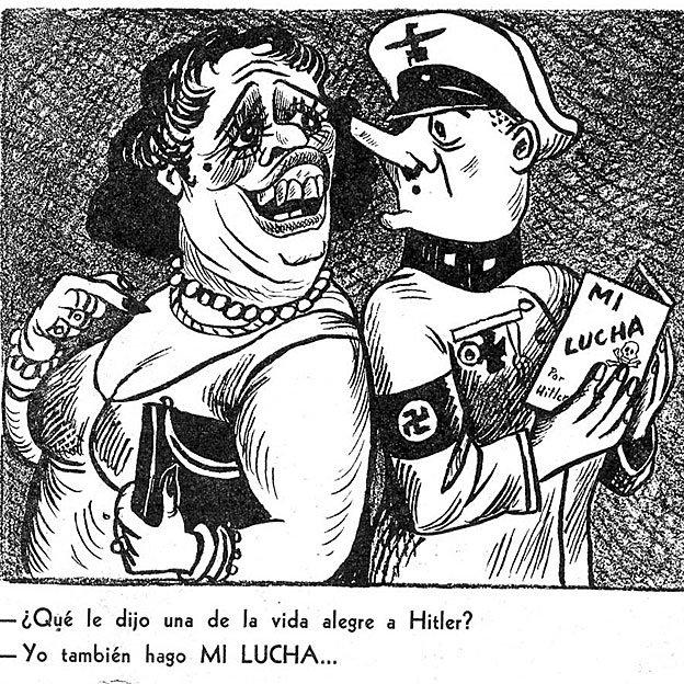 Una de las caricaturas publicados por el antifascista El EJE..LE de México el 23 February 1942.