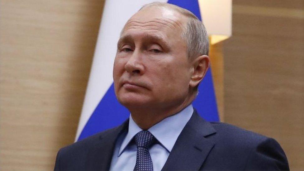 俄羅斯總統普京在莫斯科市郊新奧加廖沃官邸(5/12/2018)