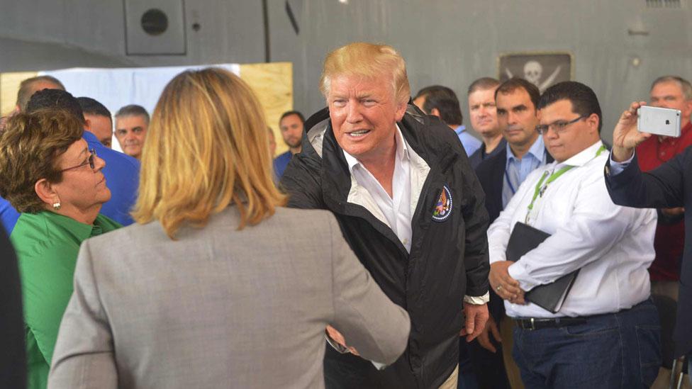 San Juan Mayor Carmen Yulin Cruz and Mr Trump