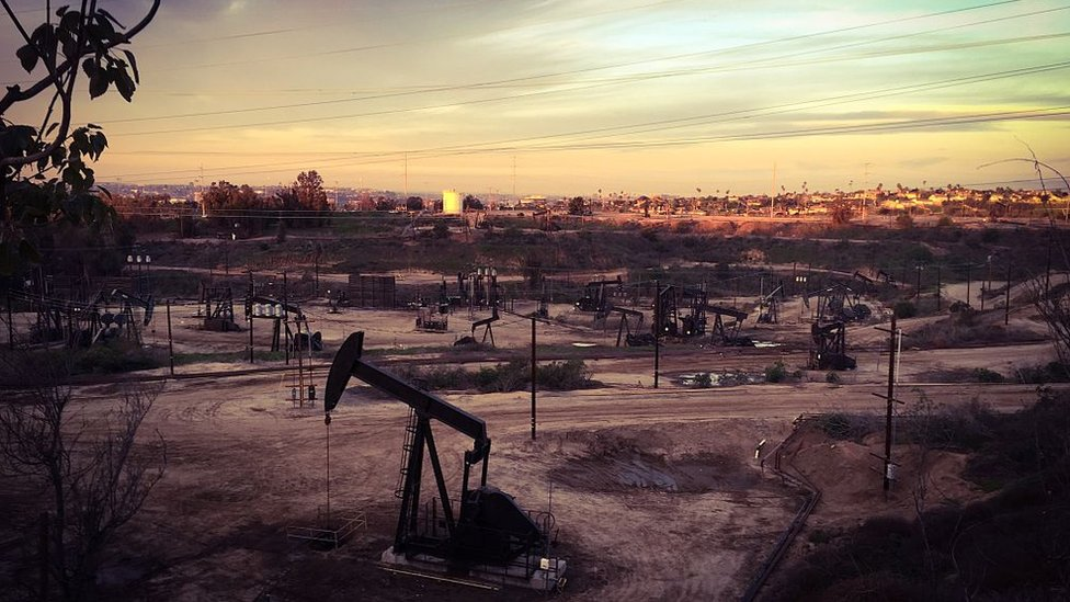 Dessolate oil field in morning light