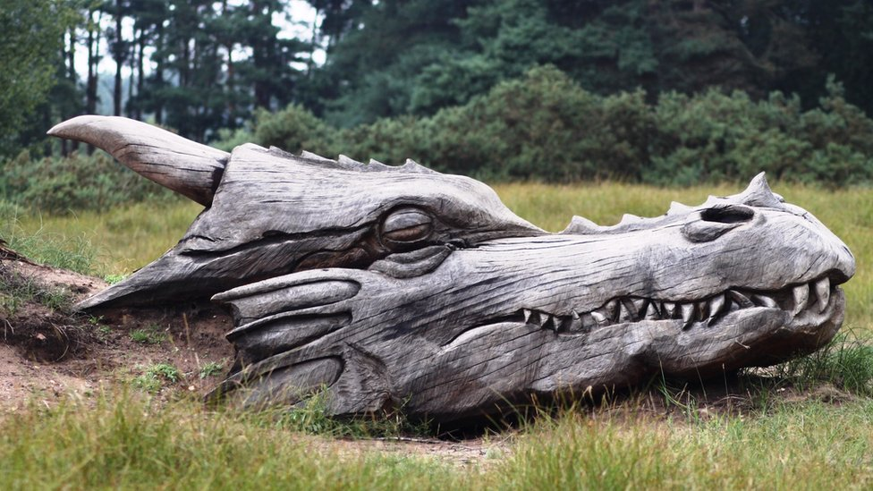 The dragon's head at the Grendel and Beowulf Trail at West Stow