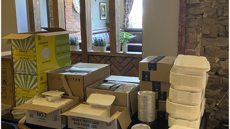 Takeaway boxes ready to be filled