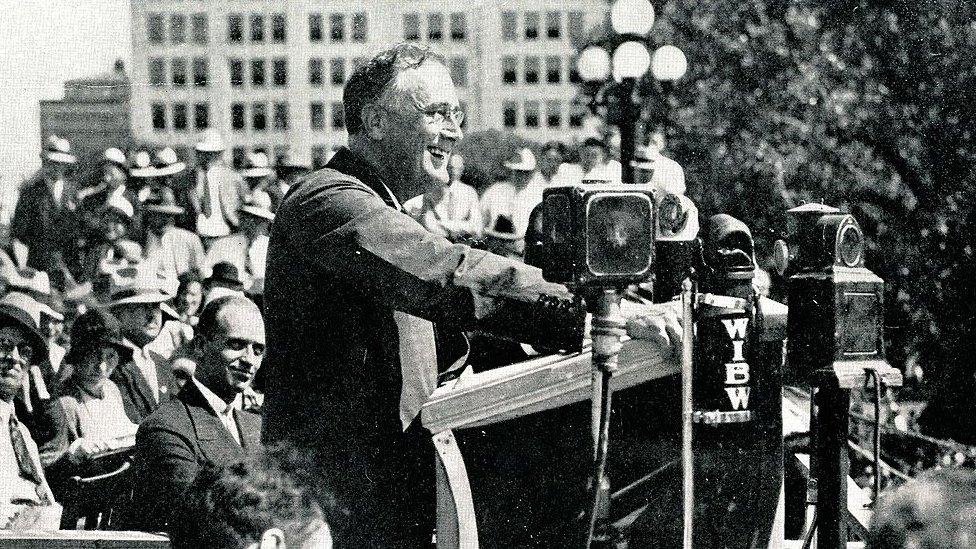 Franklin Delano Roosevelt durante un discurso.