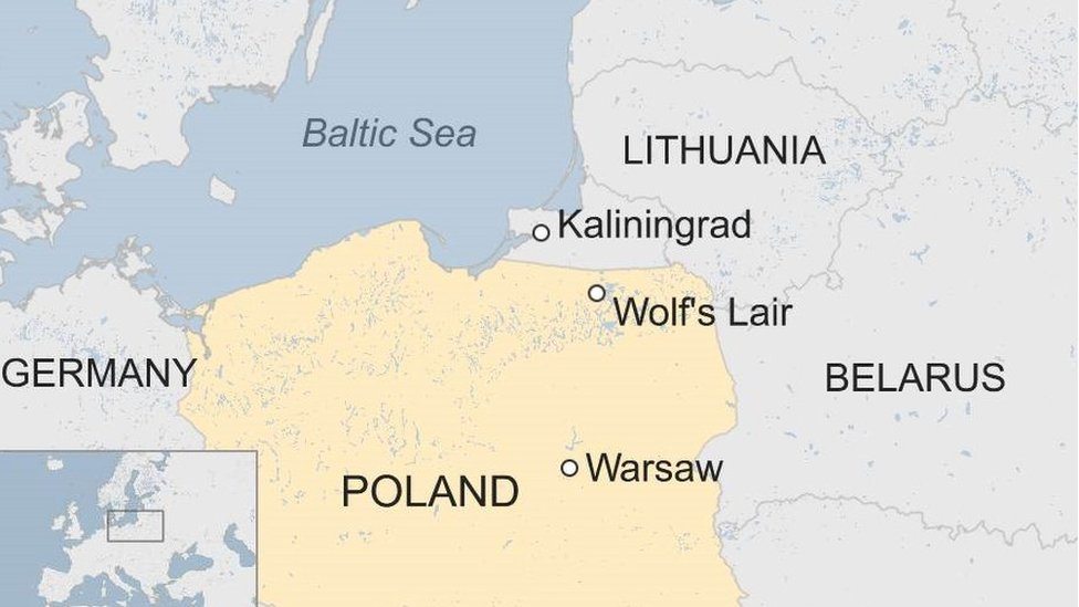 Map showing location of Wolf's Lair