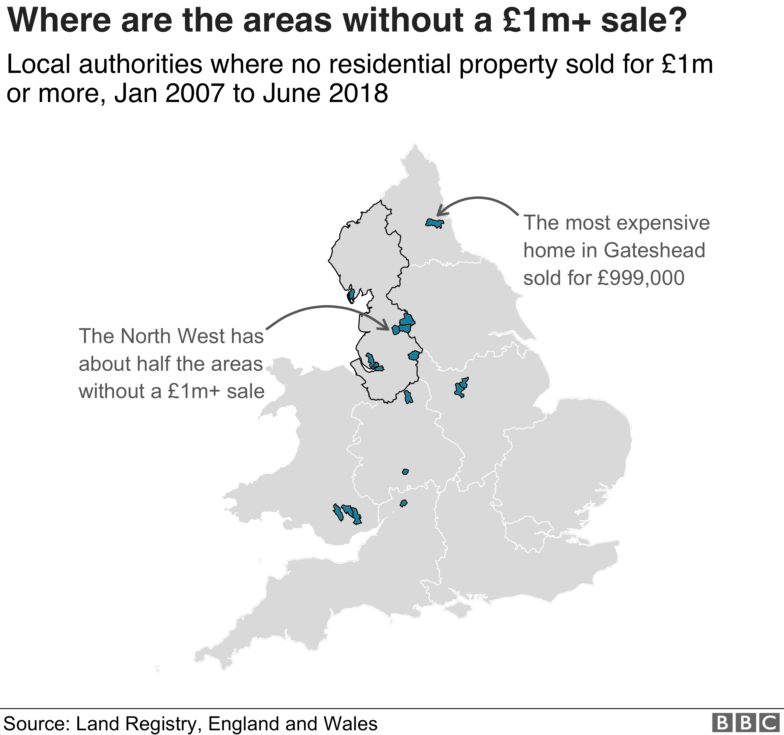 Map of areas without a £1m plus property sale since 2007