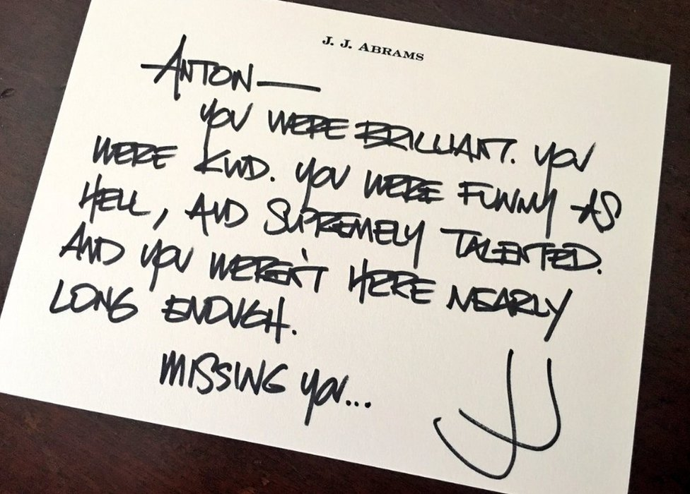 "JJ Abrams tweet: ""You were kind. You were funny as hell, and supremely talented. Andy you weren't here nearly long enough. Missing you."""