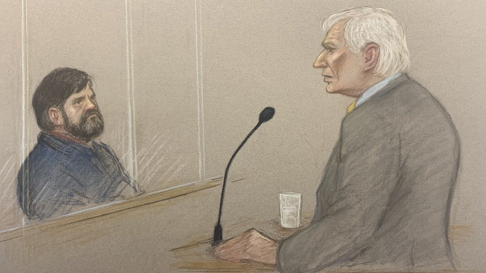 Harvey Proctor giving evidence as Carl Beech looks on
