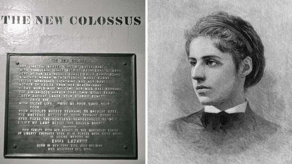 القصيدة المحفورة على تمثال الحرية هي للشاعرة إيما لازاروس، التي وُلدت في نيويورك عام 1883
