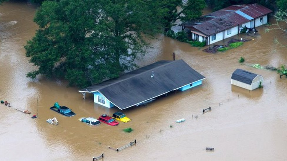 Cars and homes have been almost wholly submerged