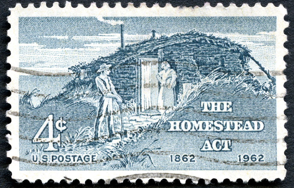 A US stamp commemorating the centenary of the Homestead Act