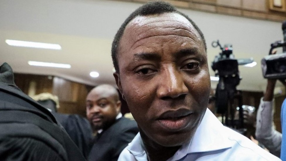 Omoyele Sowore arrives at a courtroom in September