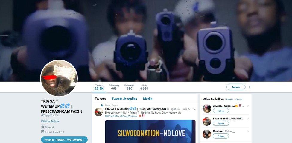 Screan grab of Olaloko's Twitter account