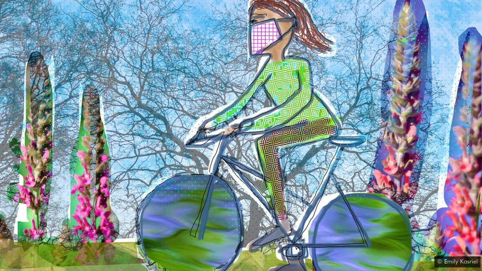Colourful illustration of a woman cycling, wearing a face mask.